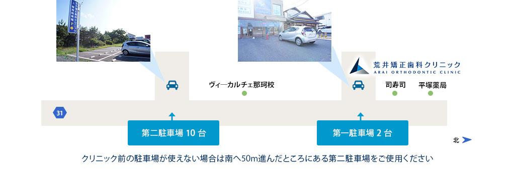 クリニック前の駐車場が使えない場合は南へ50M進んだところにある第二駐車場をご使用ください。